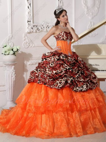 Natural Waist Printed Pattern Fishbone Lines Quinceanera Dress Gown Layers Train
