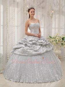 Shiny/Flaring Silver Half Bubble Overlay Half Ruching Quinceanera Party Gown