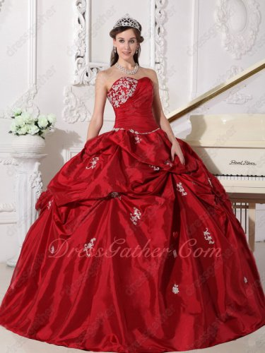 Low Price Strapless Dull Red Taffeta Dress to Quinceanera Wear Cenicienta
