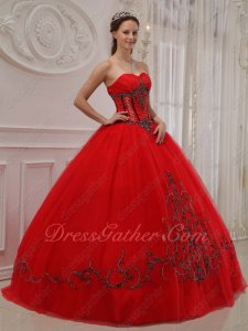 Trimed Dull Red A-line Quince Outfits Ball Gown With Elaborate Handwork Embroidery