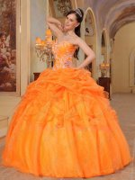 Bright Orange Bubble/Ruffles Organza Overlay Sweet 16 Quince Gown Juniors