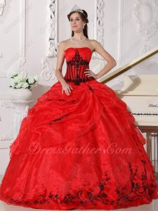Factory Direct Quince/Military Ball Gown Scarlet Red Organza With Black Embroidery