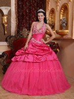 Hot Pink Taffeta/Mesh Quinceanera Prom Ball Gown Halter Strap Prevent Creep Down
