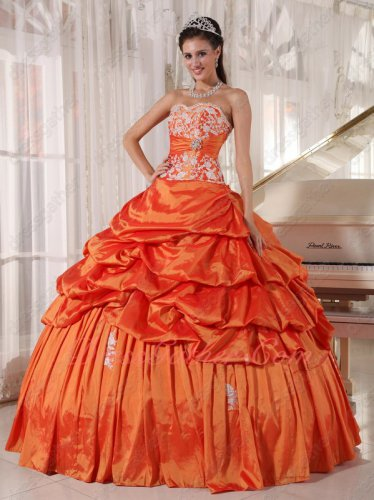 Inexpensive Applique Tops Coat Bright Orange Taffeta Quinceanera Ball Gown Bubble