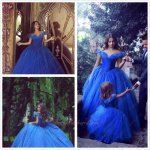 Hot Sell Crystal Shoes Fairy Tales Royal Blue Cinderella Dress Customized Online