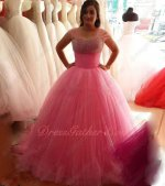 Teenage Most Choice Pink Gauffer Waist Fluffy Ruched Tulle Ball Gown For Quince Dance