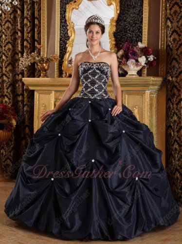 Deep Navy Blue Picks-up Bubble Taffeta Puffy Quinceanera Ball Gown Silver Embroidery