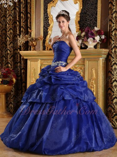 Deep Royal Blue Organza Full Bubble Puffy Vestido de