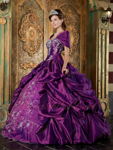 Bright Deep Purple Designer Quinceanera Ball Gown Silver Embroidery With Shawl