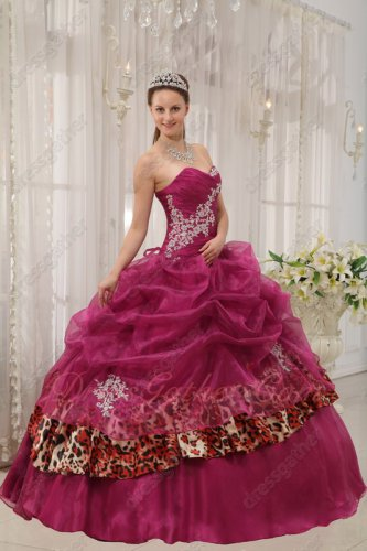 Unique Ruby Mauve Purple Sweetheart Quinceanera Dress With Leopard