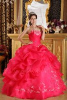 Strapless Deep Coral Quince Anos Ball Gown Side Bubble Open With Embroidery Bottom