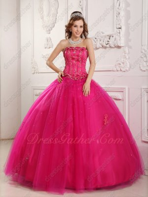 Rolloff Bordure Strapless Fuchsia Tulle Quinceanera Ceremony Women Prefer Ball Gown