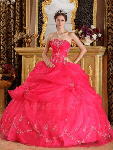 Deep Coral Pink Strapless Embroidery Ball Gown Quinceanera Gown Stage Prop Dress