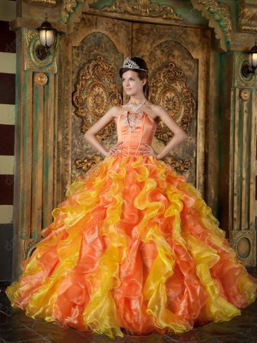 Bright Yellow/Orange Mixed Ruffles Quinceanera Ball Dress Photography Studio