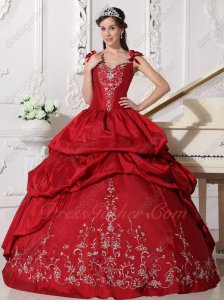 Double Straps Sweetheart Embroidery Western Quinceanera Ball Gown Wine Red
