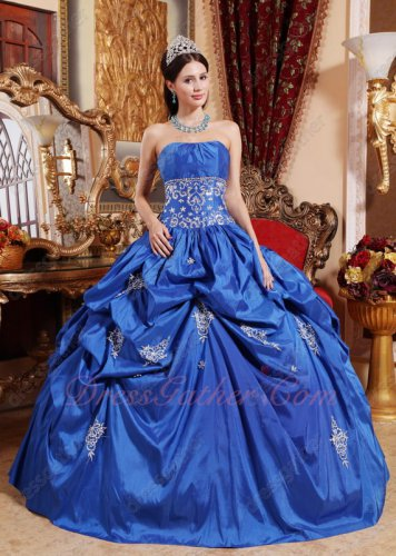 Cerulean Royal Blue Floor Length Quinceanera Ball Dress Military Party