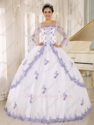 Square Long Flare Sleeves White Lolita Quince Cake Ball Gown With Lavender Lacework