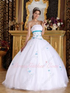Elegant Pure White Like Fairy Tale Princess Court Ball Gown With Teal Details