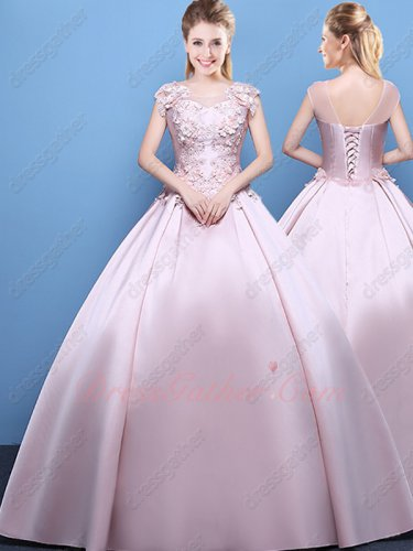 Summer Cool Lightest Pink Satin Puffy Flat Evening Ball Gown 3D Flowers Top Corset