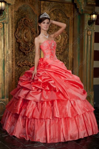 Multilayers Watermelon Taffeta Like Cakes Ball Gown Quince Military Ball Gown