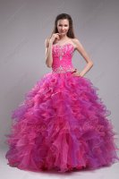 Noble Hot Pink and Purple Mixed Ruffle Skirt Top Designer Prom Celebrity Ball Gown