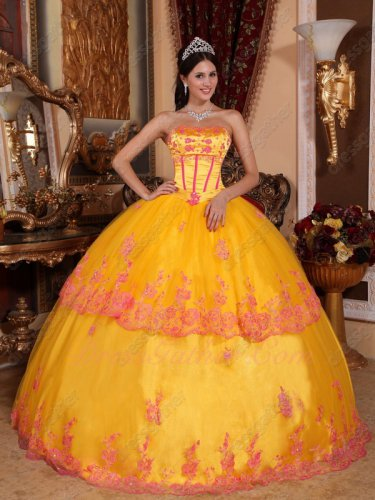 Strapless Marigold Bright Deep Yellow Quince Ball Dress With Fuchsia Details