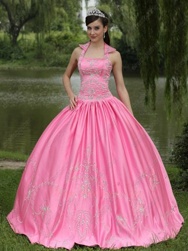 Square Stand Peaked Lapel Rose Pink Satin Quinceanera Girl Gown Silver Embroidery