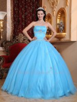 Strapless Aqua Blue Tulle Juniors Quinceanera Themes Ball Gown Flattering