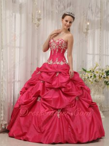 Coral Red Taffeta Pick Up Floor Length Ball Gown Quince With Champagne Applique