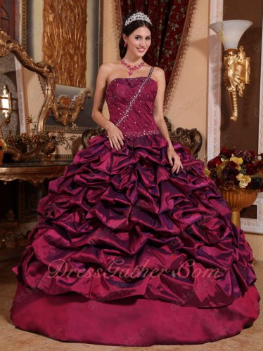 Single One Shoulder Purple Bubble Taffeta Quinceanera Military Dress Warm tone