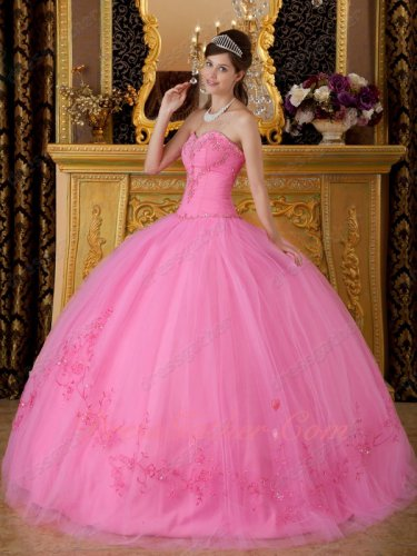 Best Deals Rose Pink Nature Waistline Quinceanera Gown With Embroidered Bottom Skirt