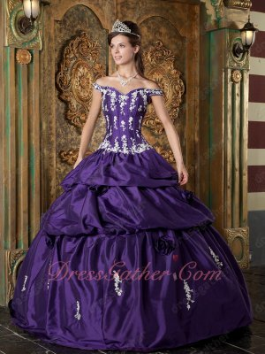 Off Shoulder Eggplant Purple Taffeta 2019 Spring Pop Color Quinceanera Ball Gown