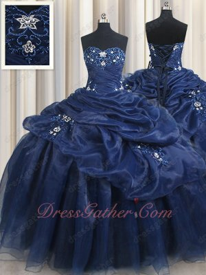 Appliqued Floor Length Very Puffy Skirt Navy Blue Pretty Girls Wear Quinceanera Gown