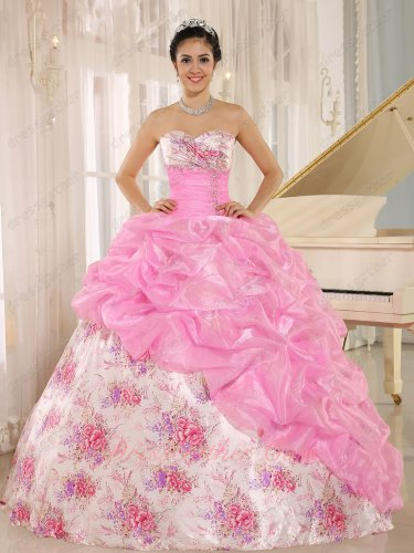 Flat Printed Floral Pattern Skirt/Pink Organza Bubble Overlay Court Ball Gown