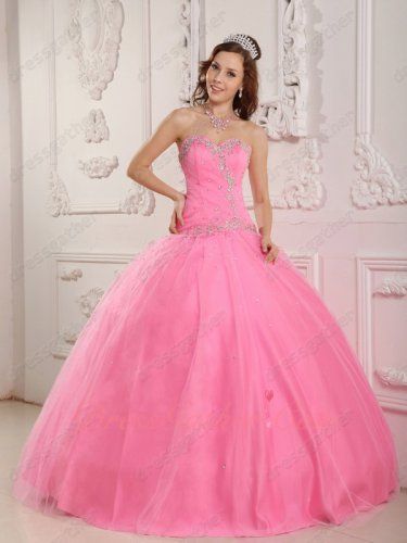 Lovely Sweetheart Rose Pink Dancing Tulle Puffy Skirt Quinceanera Dress Top Seller List