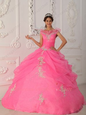 Off Shoulder Flouncing V Neckline Rose Pink Allure Quinceanera Dress Amazon