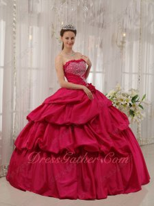 Fuchsia Taffeta Puffy Bubble Skirt Princess Ball Gown Evening Party Dancing