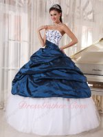 Mineral Navy Blue Quinceanera Party Dress White Flat Tulle With Bubble Overlay