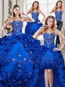 Embroidery Four Pieces Detachable Royal Blue Girl Quinceanera Ball Gown Promotion