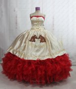 Western Style Quinceanera Ball Gown Horse Head Embroidery Champagne and Red Ruffles