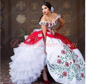 Off Shoulder Red & Green Branches Leaves Embroidery Western Quinceanera Gown White