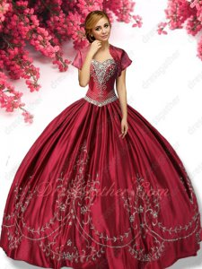 Cheap Wine Red V-Shaped Basque Satin Western Village Quince Gown Full Silver Embroidery