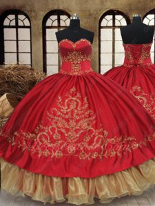 Hot Sell Western Destination Quinceanera Gown Red With Gold Embroidery Organza Hemline