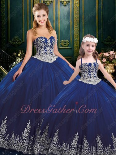 Adult and Girls Together Western Ball Gown Dark Royal Blue Silver Embroidery Low Price