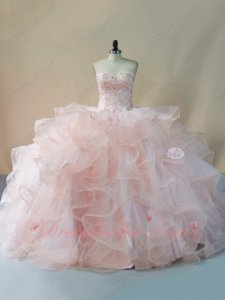 Horsehair Edging Tulle Wavy Waterfall Lovely Blush Pink Puffy Quinceanera Ball Gown