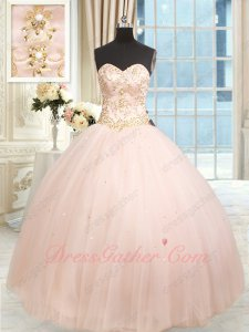 Blush Pink Gold Embroidery Brilliant Quinceanera Ball Gown Photography Studio Costumes