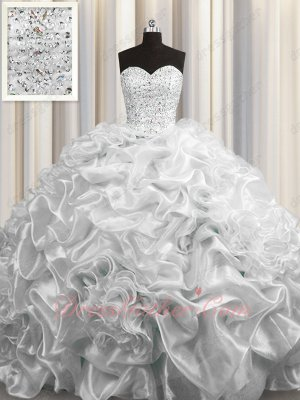 Silver Luxury Quinceanera Ball Gown Bubble Cathedral Train High Quality Tailoring