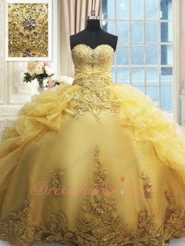 Luxurious Gold Ruffles Open Flat Quinceanera Ball Gown Ancient Royal Household