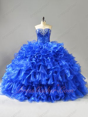 Sweetheart Paillette Basque Curly Edge Waterfalls Bright Royal Blue Quinceanera Dresses
