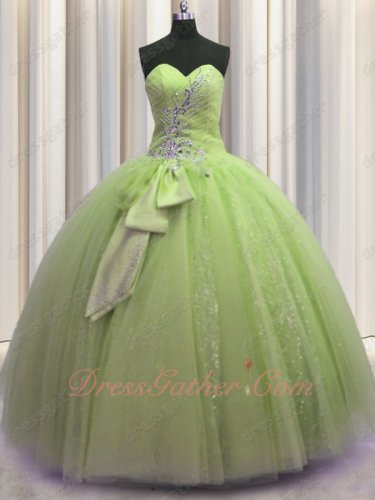 Glamorous Dust Yellow Green Ball Gown Spakle Tulle 2019 Sixteen Birthday Most Selected